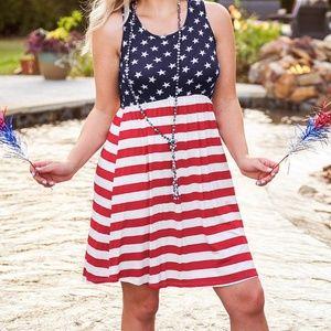 Plus Size American Flag Stars Mini Dress